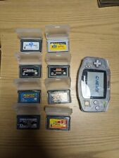 Nintendo Game Boy Advance 32GB Glacier Handheld System with 8 games