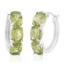 FABULOUS HEBEI PERIDOT EARRINGS WITH CLASP IN  S/SILVER 8.00 CTS