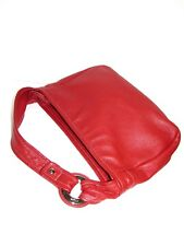 FURLA AUTH Red Pebbled Leather Slouchy Hobo Shoulder Bag