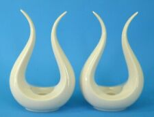 PaiR Lenox Lyre Candle StiCk Holders MiD Century StyliZed Bull Horn's Sculpture
