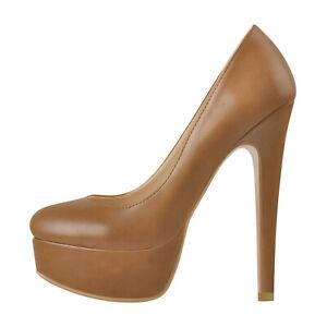 Womens Sexy Shoes Super High Platform Round Toe High Heel Stiletto Slip-on Pumps