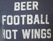 Beer Football Hot Wings Medium T-Shirt Blue Big Bend Outfitters
