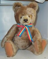 "20"" Steiff Teddy Bear Tan Mohair Jointed Bear German W/ Ear Tag Vintage Rainbow"