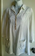 NWOT FREE PEOPLE WHITE TEXTURED PIQUE COTTON BUTTON UP SLEEVE TUNIC SIZE 8