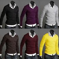 Men's V Neck Soft Knitwear Jumper Plain Sweater Pullover Bottoming Shirts Tops