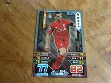2015/16 MATCH ATTAX JORDAN HENDERSON LIVERPOOL  SILVER LIMITED EDITION CARD