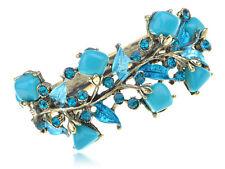 Vintage Brass Tone Sky Blue Stone Flower Floral Bangle Curf Fashion Women Gift