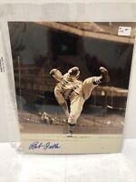 Bob Feller Autographed Cleveland Indians 8x10 Photo High Leg Kick Signed Auto #1