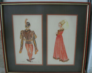 Very rare unique drawing in pencil of a Renaissance Man and Woman By Mandleur