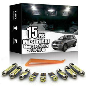 15x For Mitsubishi Montero Sport 2008-2015 Interior White LED Light Kit No Error