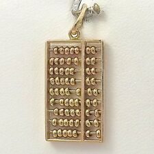 14K Yellow Gold 3D Articulated Math Abacus Counter Charm Pendant 3.1gr