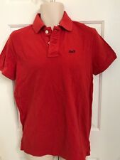 NWT Abercrombie by Hollister Mens Polo Shirt Slim Fit RED, MEDIUM