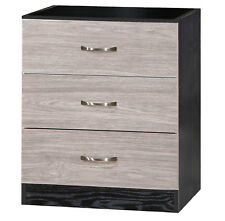 High Gloss 3 Drawer Chest - 13 Colours - Modern Design Marina Bedroom Furniture Grey and Black