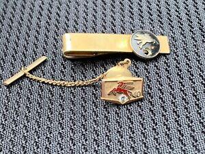 Vintage 10k Gold Diamond Mobil Gas Oil Tie Pin Clip Mobiloil Pegasus Advertising