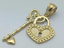 New Solid 14K Yellow Gold Heart Locket with Key Charm Pendant 1.2 grams