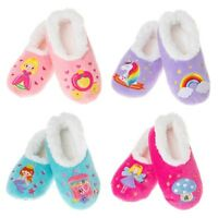 Kids Snoozies Slippers Bright Soft Warm Fleece Non-Slip Pink Unicorn Size UK 2-3