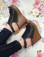 Black wedges size 4 Leather Look Studded Peep Toe Sling backs Wood Effect Summer