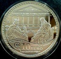 España 10 euros 2012, prueba de plata, Tricentenario de la Biblioteca...