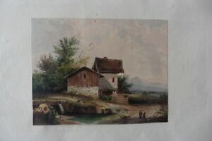 FRENCH SCHOOL 19thC - ANIMATED MOUNTANIUS LANDSCAPE - FINE WATERCOLOR