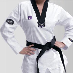 Mooto 3F Woman Taekwondo Uniform Female Dobok Black V-Neck Korea MMA TKD