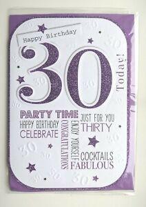 Age 30 Happy Birthday Card - Purple Bold Glitter Women Ladies Lady  30th Thirty