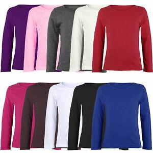 Kids Basic Plain Girls Boys Long Sleeve Stretch Uniform Tee T Shirt Top 2-year