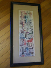 """Vintage Mid-Century Russell Hong Kong IBF Co. Litho Watercolor - 32.5"""" X 16.5"""""""