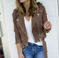Blank NYC Women's Suede Morning After Brown  Jacket $198 NWT Size L (A589)