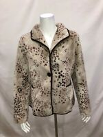 Susan Graver Printed Polar Fleece Button Front Jacket with Pockets Large Size