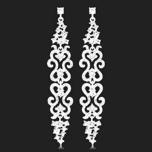 Silver Plate Crystal Rhinestone Long Drop Big Wedding Earrings Bridal Chandelier