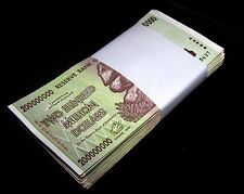 20 x Zimbabwe 200 million Dollar banknotes-circulated currency 1/5 bundle