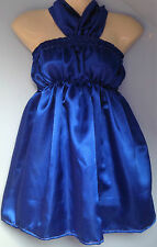 R blue satin dress adult baby fancy dress sissy french maid cosplay fits 36-46