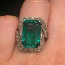 14KT WHITE GOLD 15CT GREEN EMERALD ENGAGEMENT WEDDING RING
