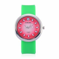 DESIGNER GREEN SILICONE PINK WHITE FACE LADIES WATCH JAPAN MOVEMENT BUCKLE STRAP