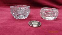 Vintage mixed set of 2 Crystal pressed glass open salts hobstar pattern
