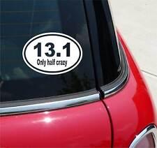 13.1 HALF CRAZY MARATHON FUNNY GRAPHIC DECAL STICKER DECOR  EURO OVAL