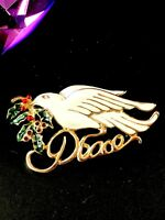 PERFECT FOR CHRISTMAS HOLIDAY WHITE GREEN ENAMEL PEACE DOVE HOLLY SPRIG BROOCH