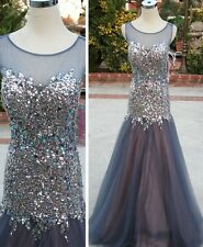 NWT JOVANI 88103 GREY Pageant Formal Evening Gown 8