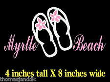 Myrtle Beach Flip Flops SC Decal Sticker Palmetto Ocean Car Laptop Vacation MB