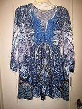 Lovely Stretchy Fold Dyed Blue/White Top Lace Yoke Beaded Inset LS  XL NWT $68