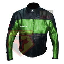 HONDA 5525 GREEN MOTORBIKE COWHIDE LEATHER MOTORCYCLE BIKERS ARMOURED JACKET