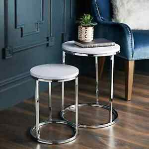 New Classic White Design Norsk Set of 2 Side Tables With Chrome Legs Living Room
