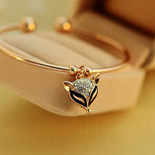 Ladies Fashion Jewelry Gold Lovely Fox Crystal Bangle Open Cuff Bracelet Gifts