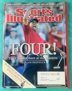 """2005 Tiger Woods Sports Illustrated - The Masters Golf  - """"Four!"""" 04/06/05"""
