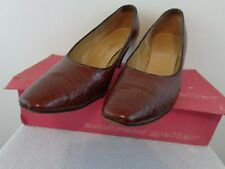 Vintage 1960's Andrew Geller Women Alligator Leather Pumps 9A Brown With Box