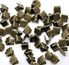 LOT de 40 EMBOUTS PINCES ATTACHE RUBAN à griffes 6x8mm BRONZE bijoux perles