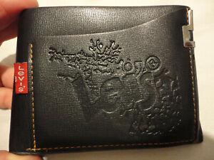 Levi's Mens Youth Wallet,leather look,Black,Sim cardslot, Slim,Bi fold,New