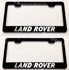 "2X ""LAND ROVER"" Black Stainless Steel License Plate Frame Rust Free W/ Bolt Caps"