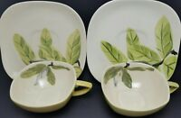 RED WING Pottery MAGNOLIA Pattern 2 Tea Cups & 2 Saucers