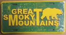 Smoky Mountains Distressed Embossed Metal License Plate